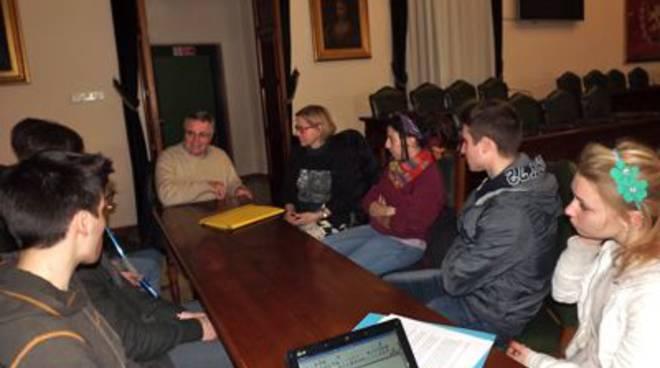 Presidente Lecci e studenti