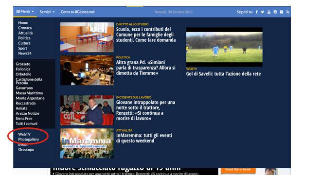 WebTv Spiegazione Menù IlGiunco.net