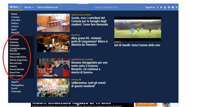 Comuni Spiegazione Menù IlGiunco.net