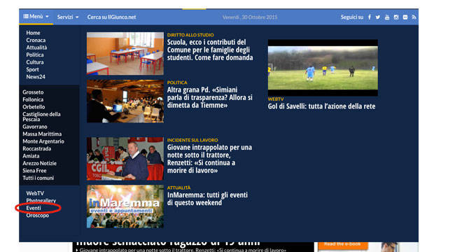 Eventi Spiegazione Menù IlGiunco.net