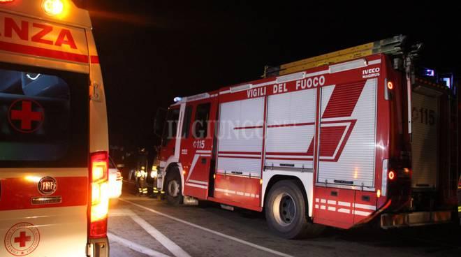 scontro 20 gennaio Vigili del fuoco notte