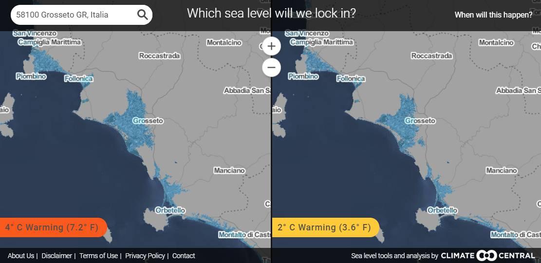 previsione innalzamento mari 2100 mappa