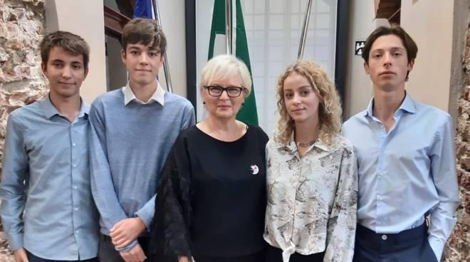 rappresentanti degli studenti al Parlamento regionale 2019 - Elia Marchini, Sophia Muts, Paolo Sartori, Emanuele Viti