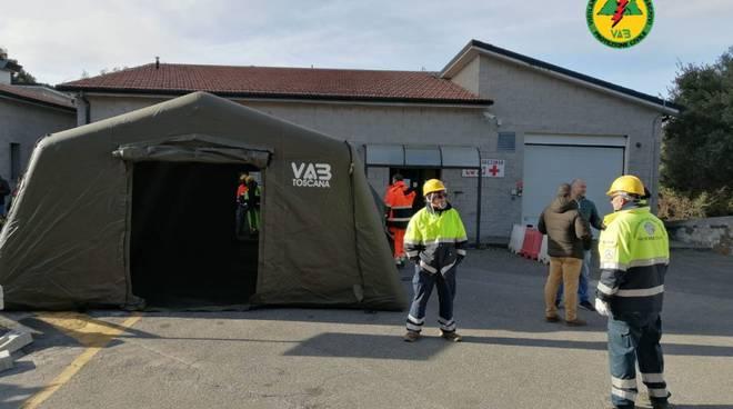 tende pre-triage ospedali Massa Marittima e Castel del Piano