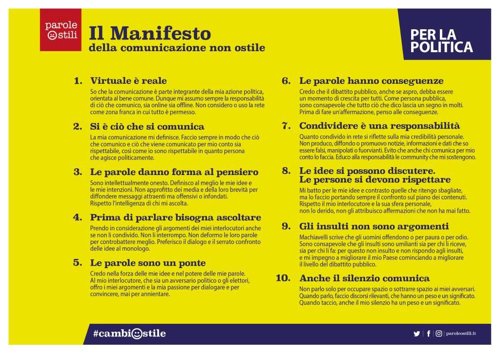 Il manifesto per la comunicazione non ostile per la politica