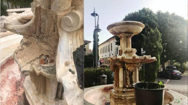 fontana piazza Garibaldi vandali